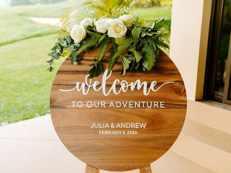 Eco-friendly wedding welcome sign
