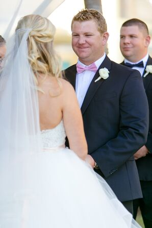 Pink Bow Tie and Ranunculus Boutonniere