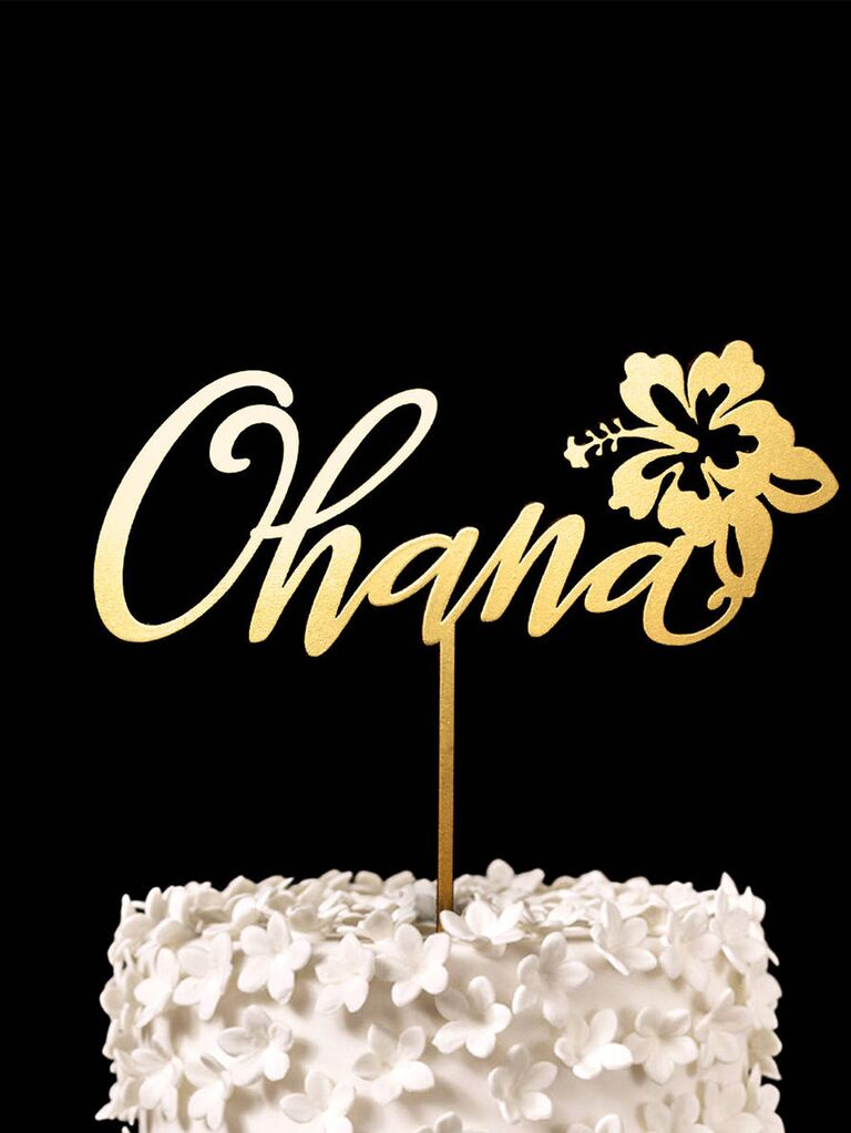'Ohana' in gold script and tropical flower decal