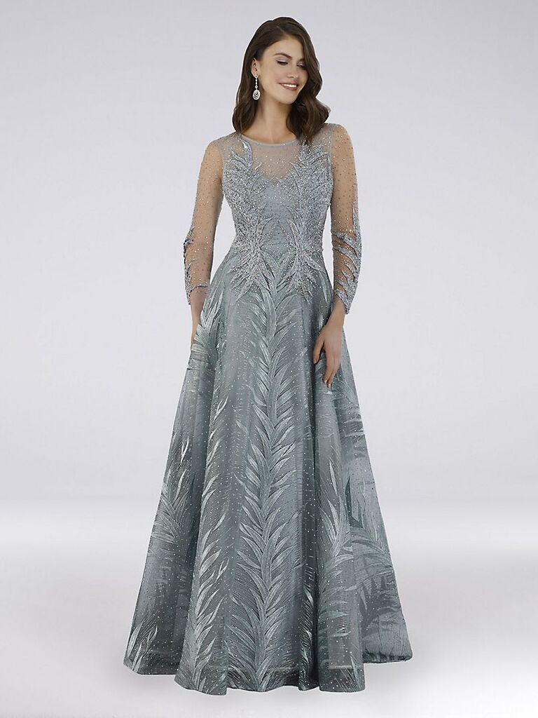 Lara beaded lace palm frond illusion ball gown