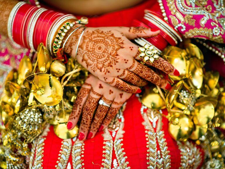Intricate wedding hand henna tattoo