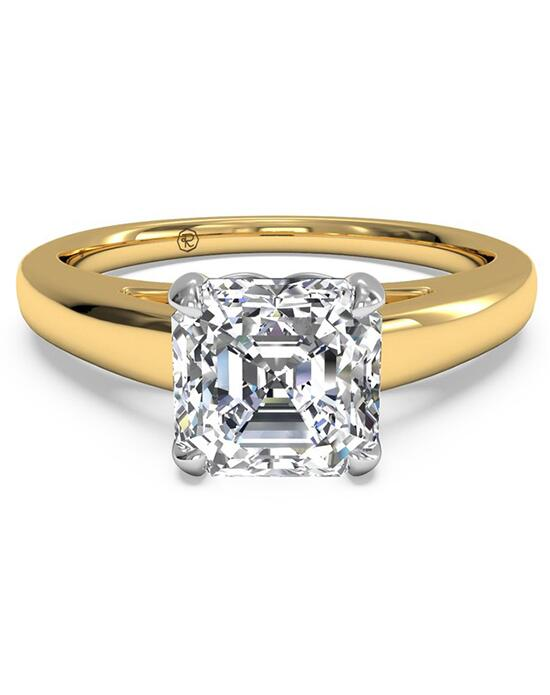 Ritani Solitaire Diamond Cathedral Engagement Ring - in 18kt Yellow Gold for a Asscher Center Stone Engagement Ring photo