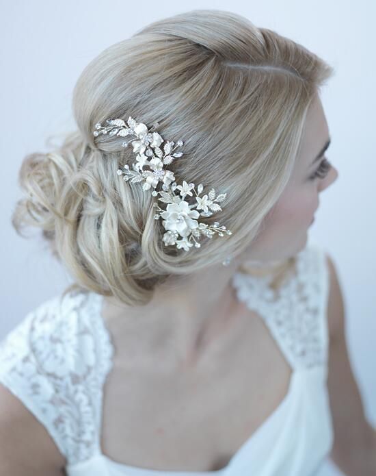 USABride Ivory & Gold Floral Clip Wedding Pins, Combs + Clips photo