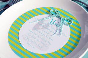 Retro Printed Menu with Turquoise Ribbon