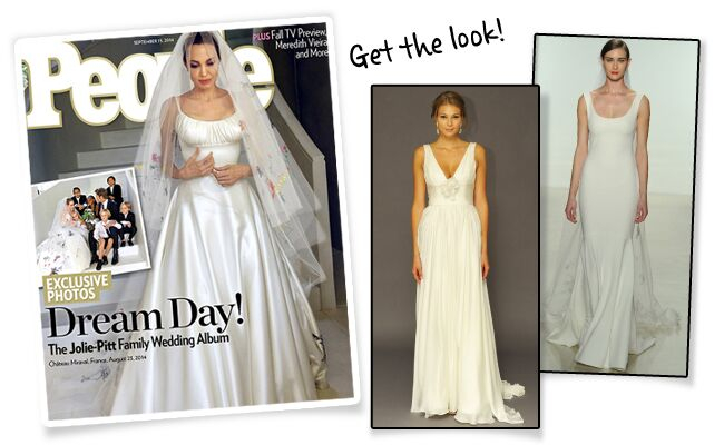 Angelina Jolie S Wedding Dress And Veil Features Pictures Drawn By Her Children