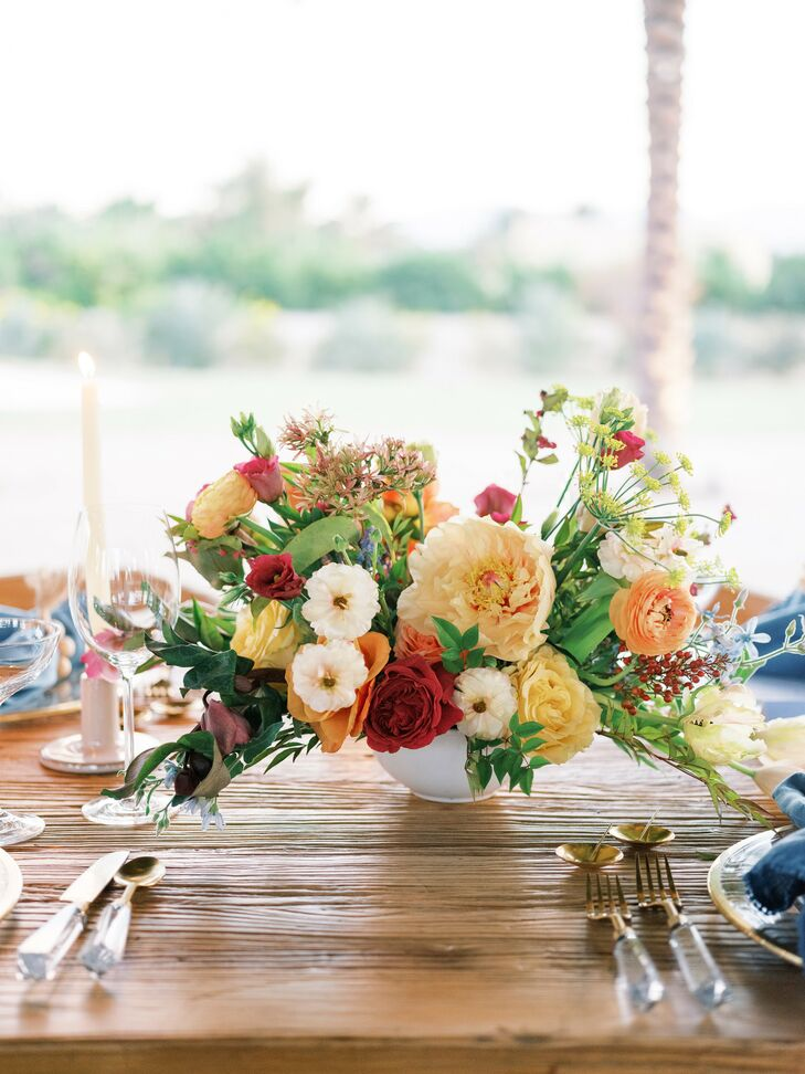 Vibrant Flower Arrangement for Wedding in Coachella, California