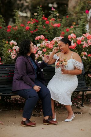 Couple Laughing and Crying During Wedding Portraits in California