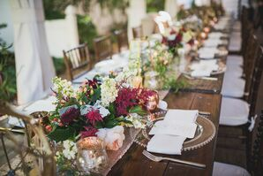 Burgundy Astilbe, Rose and Stock Centerpiece