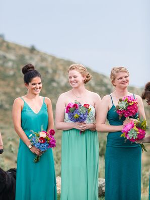 Turquoise Floor-Length Bridesmaid Dresses