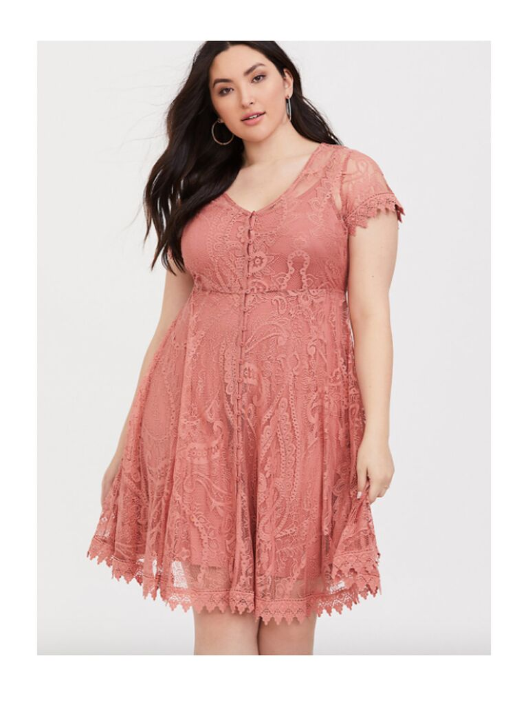 Plus-size pink lace mini dress