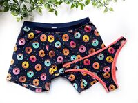 Matching boxers and briefs with colorful donut print