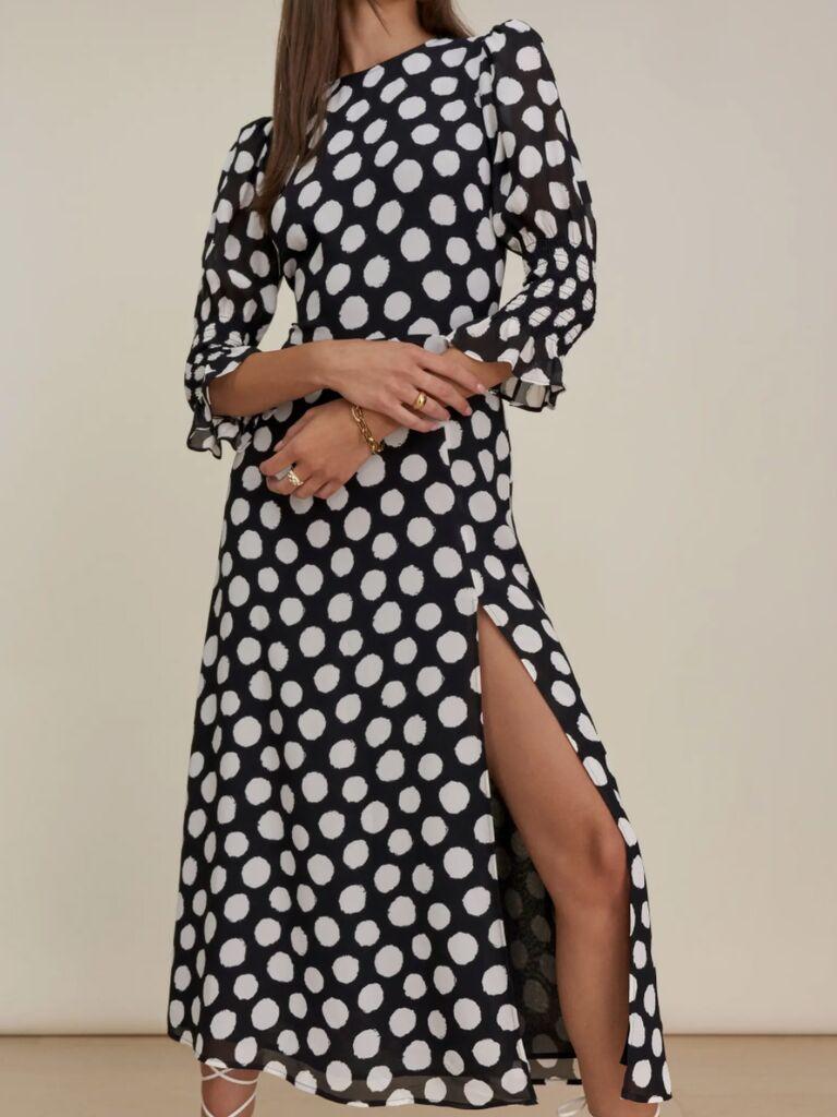 casual wedding attire for women patterned long sleeve dress