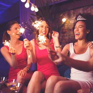 bachelorette party sparklers bride and bridesmaids