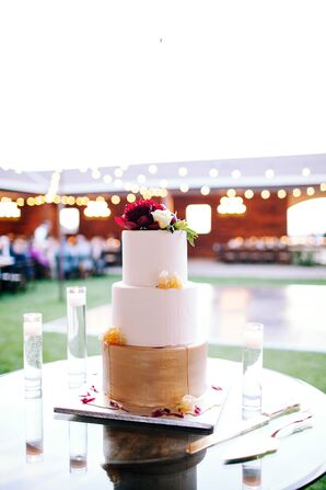 Gold Three-Tier Wedding Cake