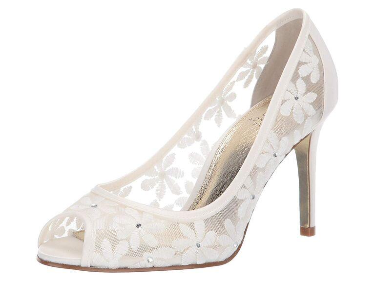 White floral sparkly wedding heels