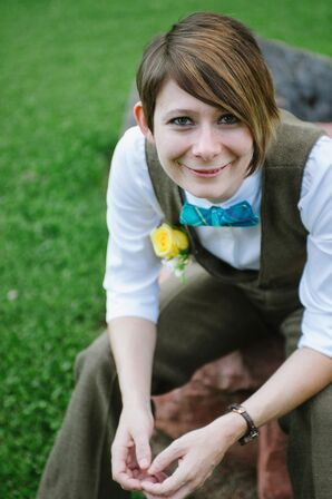 Tweed Wool Suit with DIY Turquoise Bow Tie