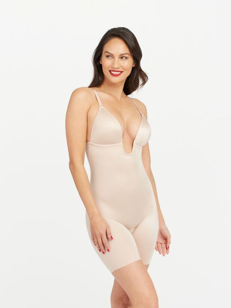 Plunging bra bodysuit with low back shapewear for wedding dress