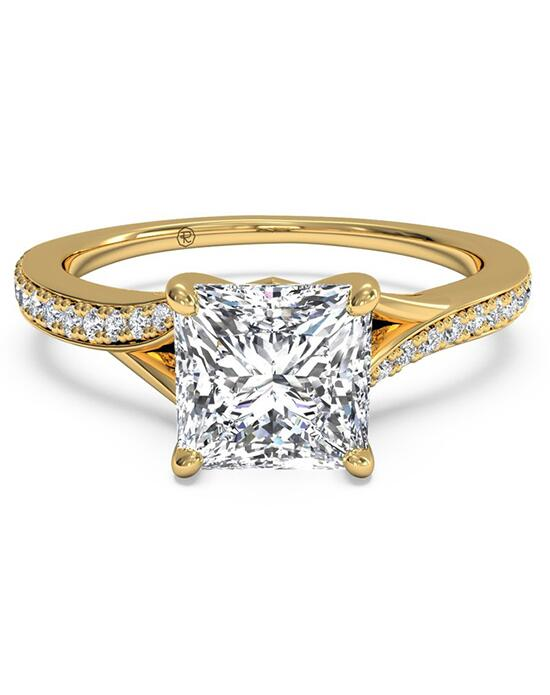 Ritani Bypass Micropavé Diamond Band Engagement Ring - in 18kt Yellow Gold - (0.19 CTW) for a Princess Center Stone Engagement Ring photo