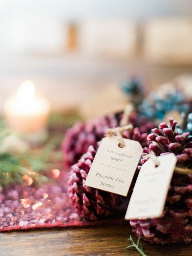 pine cone fire starter with gift tag