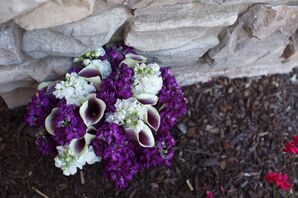 Bouquet with Purple and White Calla Lilies