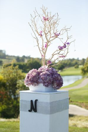 Pillars with Purple Hydrangeas and Branches