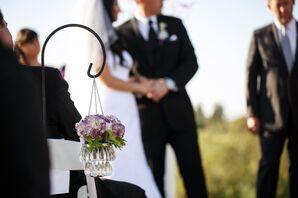 Hanging Crystal Vases with Purple Hydrangeas