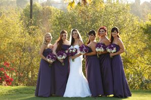 Bridesmaids in Purple Dresses with Purple and White Bouquets