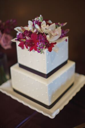 Square Tiered Wedding Cake with Purple and White Orchids
