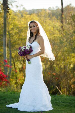 Bride in a Trumpet Style Oleg Cassini Wedding Dress