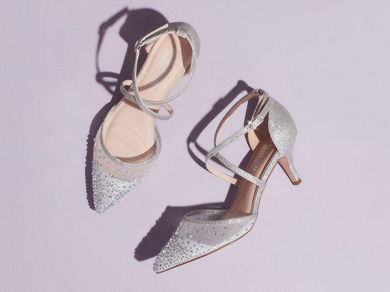 Sparkly illusion wedding heels