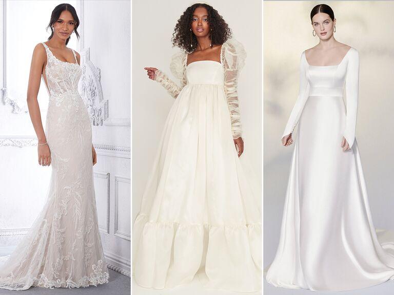 wedding dresses with square necklines