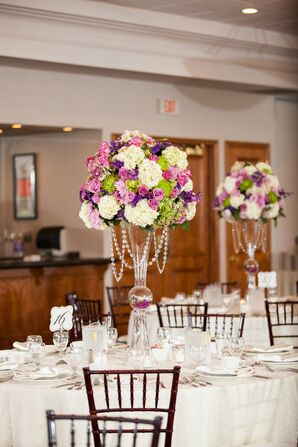 Tall Purple and Ivory Rose, Iris, and Hydrangea Centerpieces with Crystals