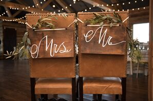 """Hand-Painted Wooden """"Mr. & Mrs."""" Chairs"""