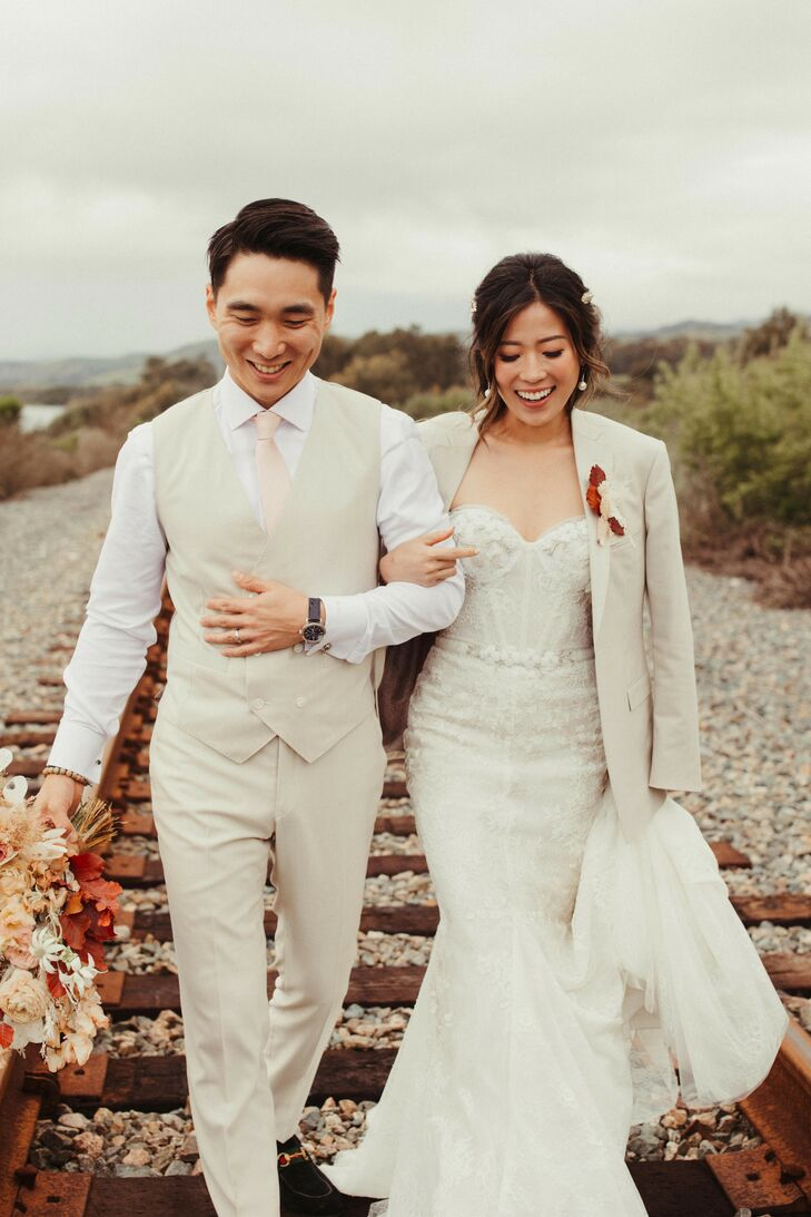 Wedding Pictures on Railroad in Coastal California