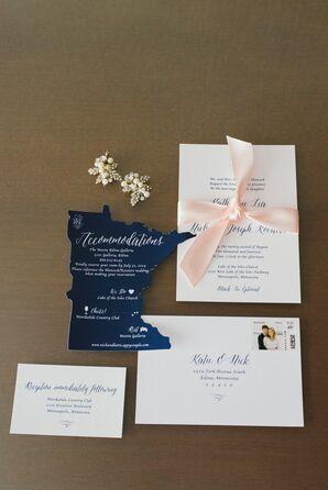 Minnesota-Inspired Navy and Blush Wedding Invitations