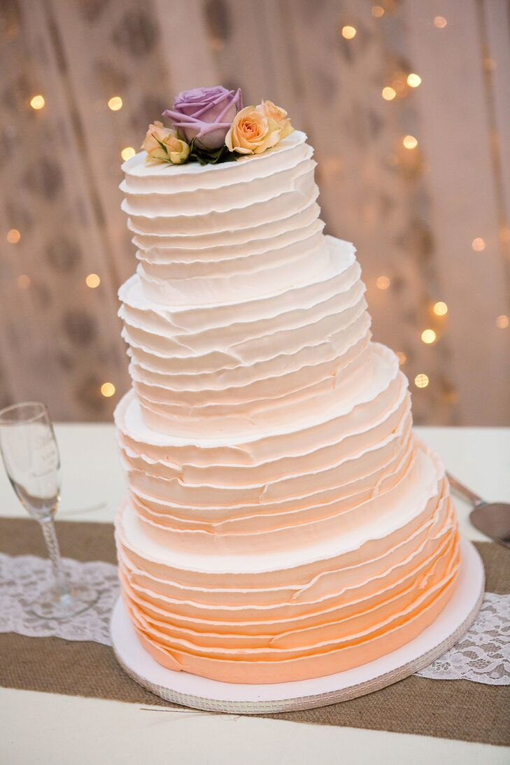 Peach Ombre Wedding Cake by Cameo Cakes