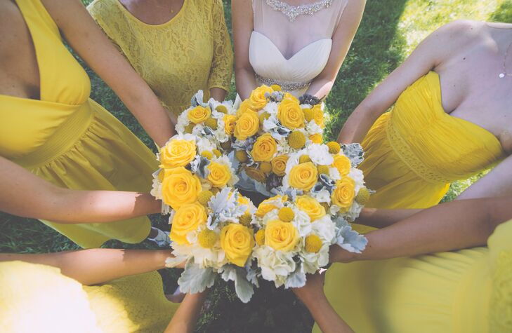 Alexa wanted her bridesmaids to wear yellow because it's the happiest color. She let them all choose their own dresses within the same yellow hue. The entire wedding was designed to feel laid back so she allowed her bridesmaids to wear whatever shoes and hairstyle they wanted.