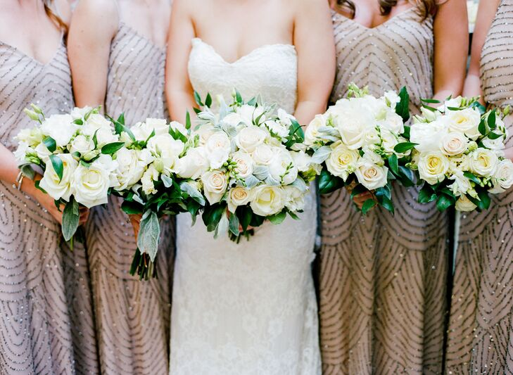 Classic Ivory Rose Bridesmaid Bouquets