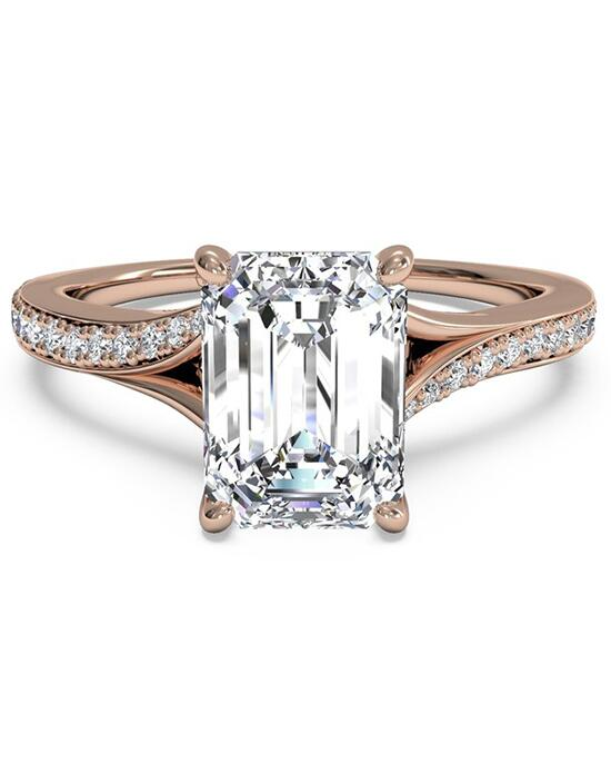 Ritani Modern Bypass Micropavé Diamond Band Engagement Ring - in 18kt Rose Gold - (0.19 CTW) for a Emerald Center Stone Engagement Ring photo