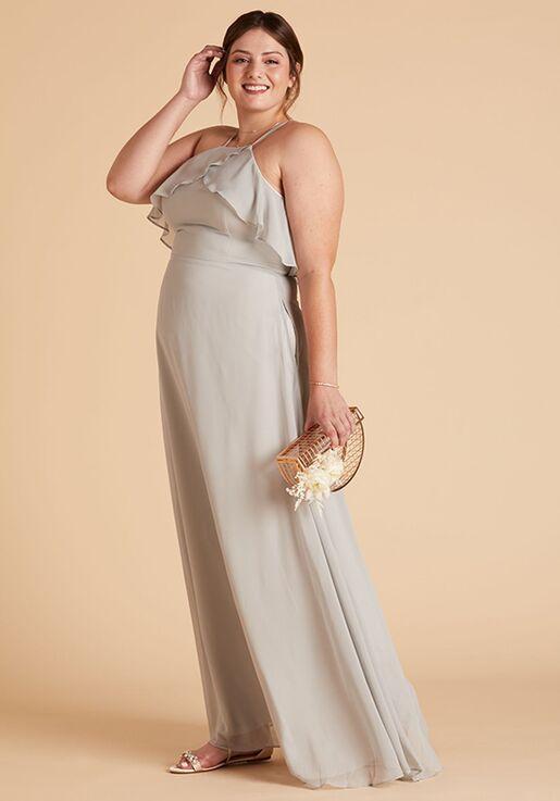 Birdy Grey Jules Curve Dress in Dove Gray Halter Bridesmaid Dress