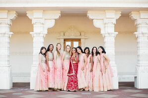 Colorful Hindu-Inspired Bridesmaids with Light Pink Lehengas
