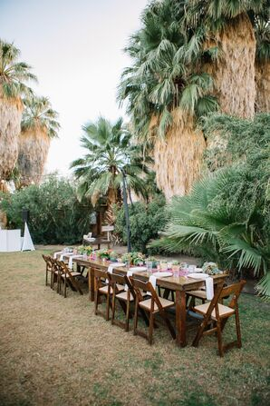 Rustic Farm Table with Folding Chairs at 29 Palms Inn in Twentynine Palms, California