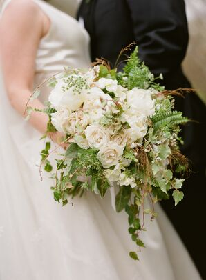 White Rose and Peony Overflowing Bouquet