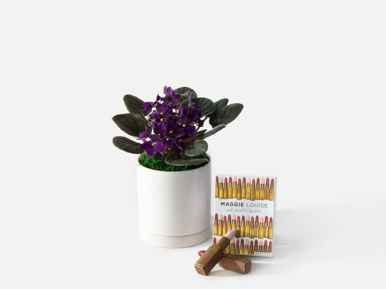Mother's Day violet flower gift with lipstick-shaped truffles