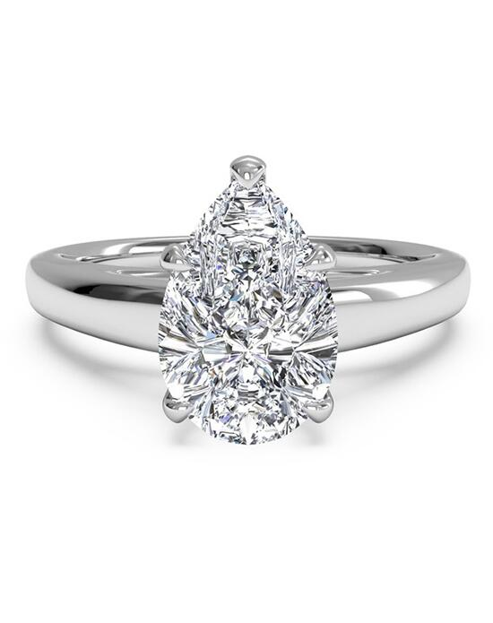 Ritani Solitaire Diamond Cathedral Engagement Ring - in 14kt White Gold for a Pear Center Stone Engagement Ring photo