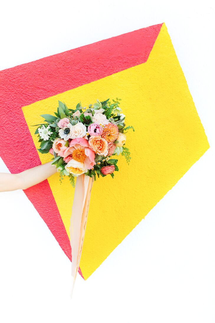 Colorful Bouquet with Anemones, Dahlias, Peonies and Ribbon