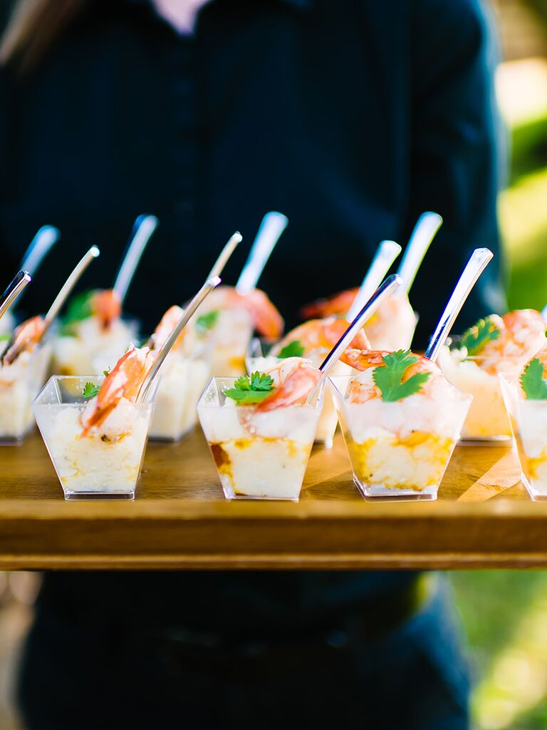 Southern wedding food idea with mini shrimp and grits