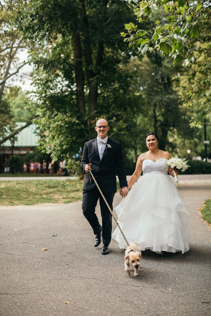 Michelle and Thorsten's 8-year-old Yorkiepoo, Roscoe Jenkins, was part of their ceremony, accompanying the flower girl and ring bearer down the aisle.