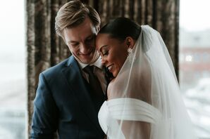 Couple at Moody-and-Romantic Wedding in Gloucester