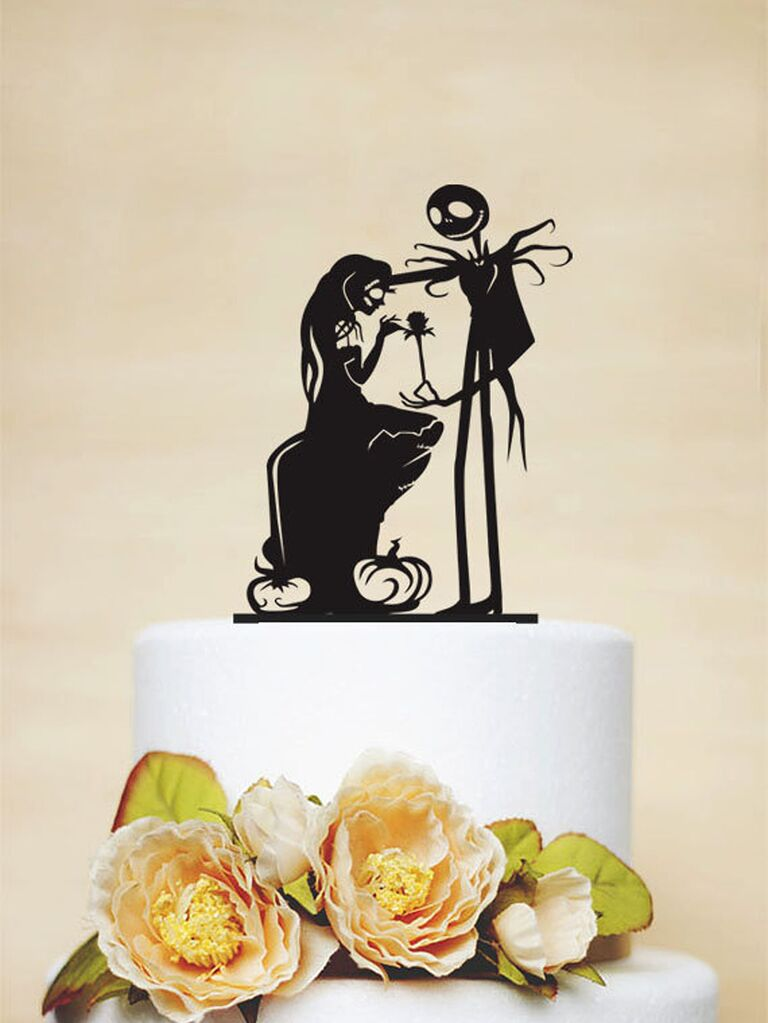Black acrylic topper with Jack and Sally silhouettes